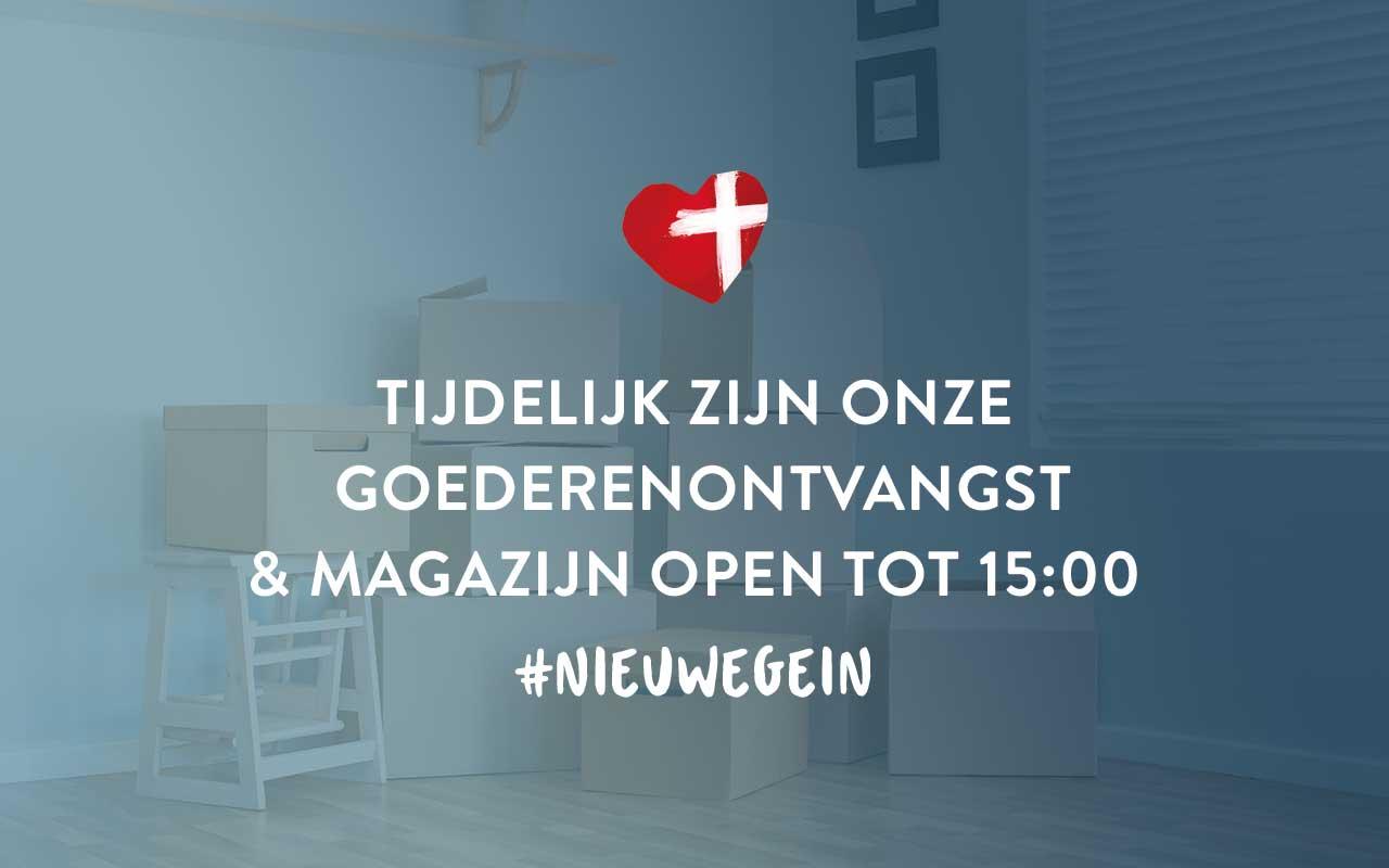 Tijdelijk zijn ons magazijn en goederenontvangst in Nieuwegein tot 15:00 open